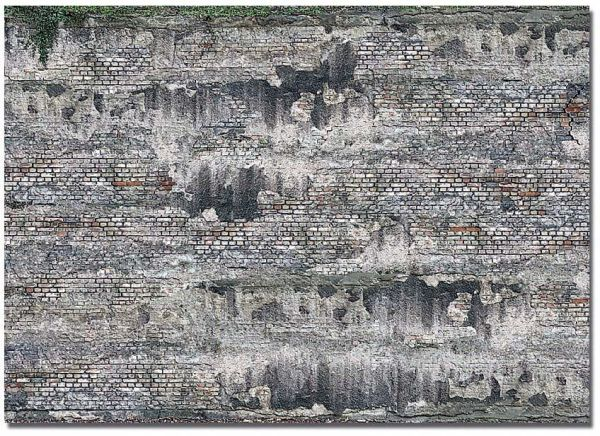 2 Dekoplatten »Verwitterte Industriesteinmauer«