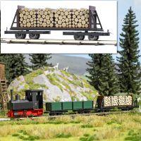 Drehgestell-Stirnwandwagen mit Holzladung