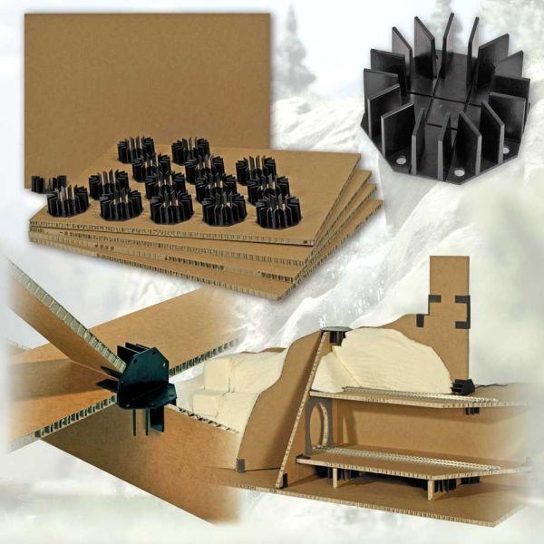 Geländebau-Stecksystem mit Wabenplatten