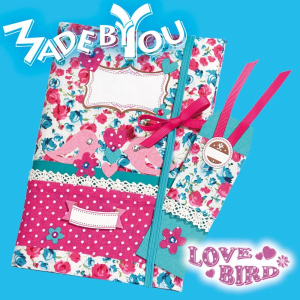 notizbuch love bird selbst gestalten bastelartikel made by you bastelartikel katalog. Black Bedroom Furniture Sets. Home Design Ideas