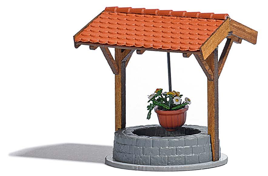 brunnen mit blumenampel ausgestaltungsdetails ausgestaltung b ume katalog modellbau. Black Bedroom Furniture Sets. Home Design Ideas