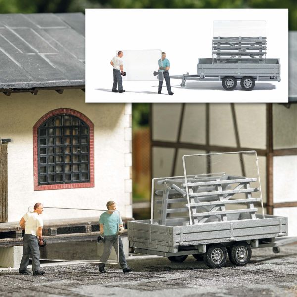 Action Set: Fensterbauer mit Glastransportanhänger